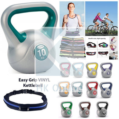 10KG Easy Grip Vinyl Coated KETTLEBELL -Sumo Squats, Walking Lunges & Twin Zipped GYM Belt