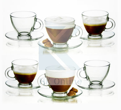 12 Pc Glass TEA CUP & SAUCER Set -Glass Coffee Set, 95ml