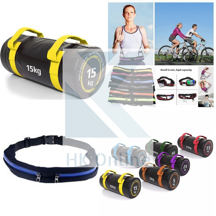 15KG PVC WEIGHTED BAG -Weight Lifting, Squats, Lunges, Rows & Twin Zipped GYM Belt