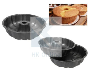 "9"" Bundt Ring CAKE PAN MOLD -Quick Release, Fluted Bakeware"