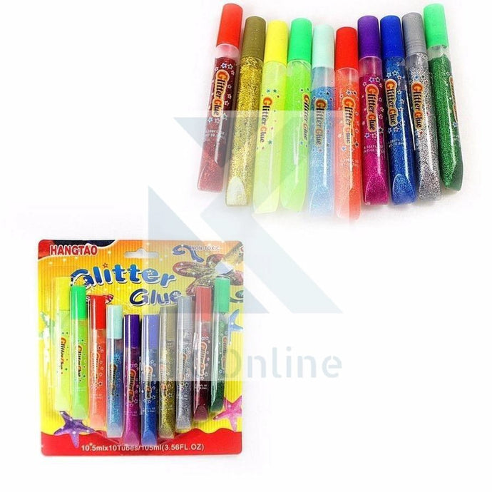 PK 10 GLITTER GLUE PENS -Artwork, Cardmaking, Giftbags