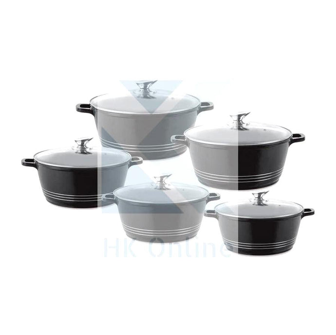5pc Heavy Die Cast STOCKPOT SET -Clear Vented Glass Lids (BLACK)
