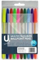 PK 10 Multicoloured BALLPOINT PENS -Smooth Flowing, Assorted Colours