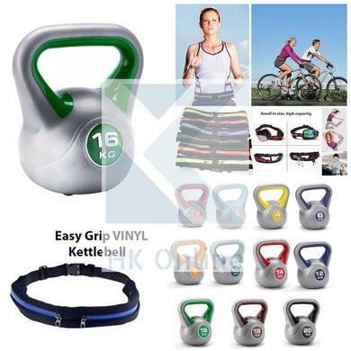 16KG Easy Grip Vinyl Coated KETTLEBELL -Sumo Squats, Walking Lunges & Twin Zipped GYM BELT