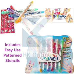 6 TEMPORARY TATTOO Gel Pens -Semi Pemanent, Body Glitter, Skin Tattoo, Patterened STICKER STENCILS -Children's Body Art