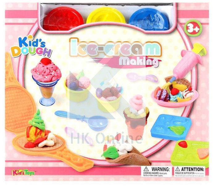 18 PC ICE-CREAM MAKING PLASTICINE PLAYSET -Syringe, Tools, Templates, Cone Molds, Creative Playing Dough