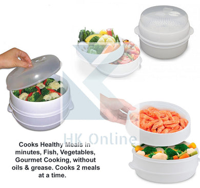 2 Tier MICROWAVE STEAMER -Cook 2 Meals in One, Fish, Vegetables, Gourmet Cooking