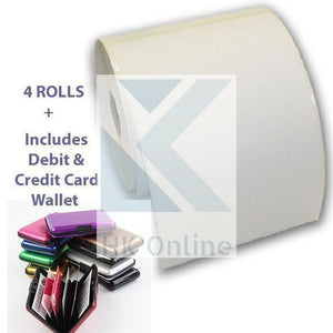 "4 THERMAL ROLLS Labels (6x4"") 100 x 150mm 500 WHITE ZEBRA Thermal Labels Per Roll & CARD WALLET"