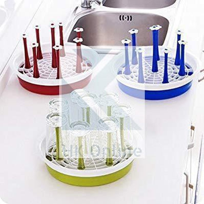 Round Glass & Mug Holder, Drainer, Rack with Draining Tray -Vegetable & Dish Drainer