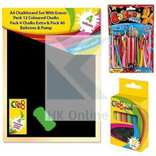 Load image into Gallery viewer, A4 CHALKBOARD Set with ERASER -PK12 COLOURED RAINBOW CHALKS, PK40 BALLOONS & PUMP Includes Extra PK4 Chalks