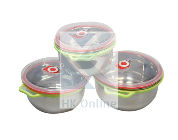 Pack 3 Stainless Steel MIXING BOWLS -Clear, Vented, Handled Lids, Mix, Marinate & Store