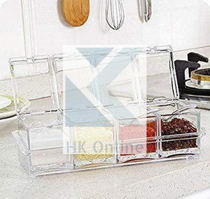Set 4 Clear Lidded ACRYLIC SPICE JAR SET -GOURMET Seasoning Set, Condiment Jars & Spoons