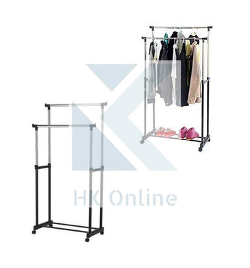 2 Tier Hanging DOUBLE CLOTHES RAIL -Easy Pull Along Wheels, Up To 30KG