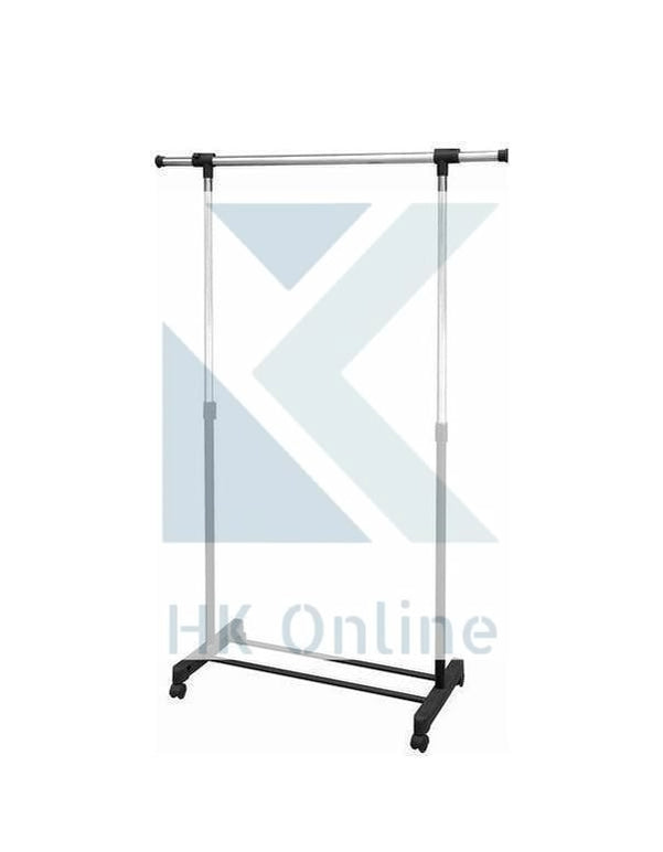 1 Tier Hanging CLOTHES RAIL -Easy Pull Along Wheels, Up To 25KG