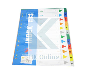 12 Part Index A4 SUBJECT DIVIDERS -Calender Month, Hole Punched
