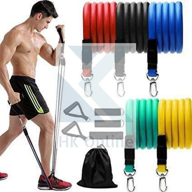 11 Pc RESISTANCE BANDS Tube Straps -Workout, Fitness, Strength, Slim & Lift, Yoga Set