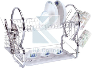 Chrome 2 Tier DISH DRAINER. -Drip Tray, Cutlery Rack, Glasses Holder