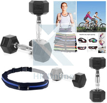 Load image into Gallery viewer, 2 x 4KG SOLID CAST Hex Dumbells Encased in Rubber -Contoured Ergo Handles & Twin Zipped GYM Belt