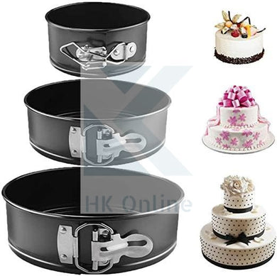 Set of 3 Ultra Non Stick Baking SPRINGFORM CAKE TINS -Easy Flip Round Cake Tins