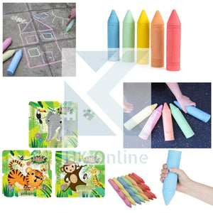 "7 GIANT CHALKS 19cm x 5cm -PAVEMENT Chalk, STREET Chalks, WALL ART Chalks (7.5"" x 2"") & 25 Pce Mini JUNGLE JIGSAW"