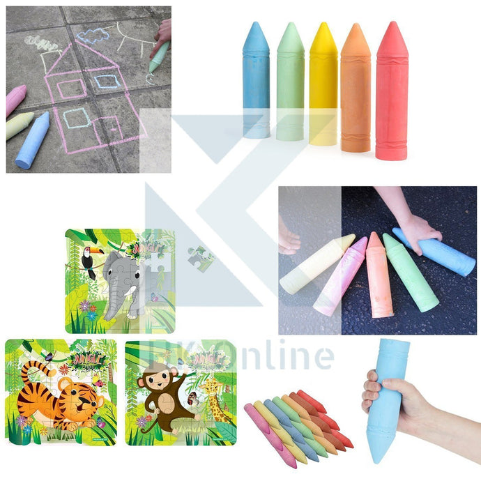 7 GIANT CHALKS 19cm x 5cm -PAVEMENT Chalk, STREET Chalks, WALL ART Chalks (7.5