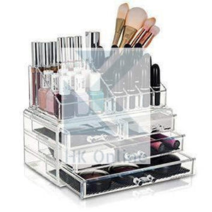 4 Drawer ACRYLIC MAKE UP ORGANISER -Jewellery, Lipstick, Brushes & Cosmetics