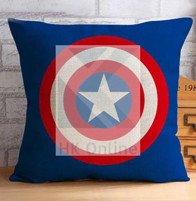 Super Heroes AVENGERS Decor Cushion Cover -CAPTAIN AMERICA, Hessian Linen Cloth 45cm x 45cm