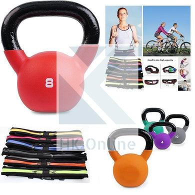 8kg Soft Touch Neoprene Coated Cast Iron KETTLEBELL -Sumo Squats, Walking Lunges & Twin Zipped GYM Belt