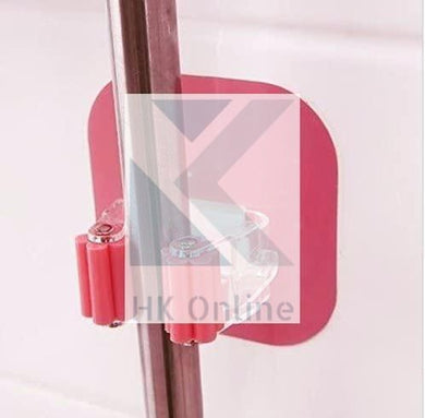 Wall Mounted Flexible Sticker BROOM & MOP HOLDER -Attach To Flat Tiles, Glass