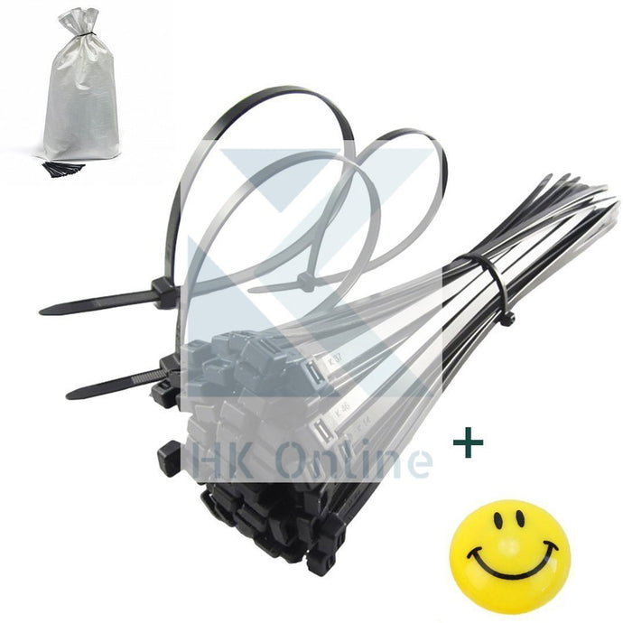 200 PC Heavy Duty BLACK CABLE TIES 25cm -Self Locking Zip Ties, MAILING Bag Ties
