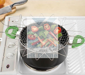 Stainless Steel FRYING BASKET -Steaming, Rinsing, Boiling, Collapsible Kitchen Must Have