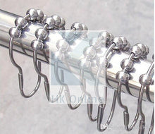 Load image into Gallery viewer, 12 Easy Glide Shower CURTAIN RINGS -Rollerball Rings (Chrome or White)