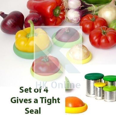 Set 4 Flexible SILICONE JAR HUGGERZ -Fruit & Veg Storage, Can Lid, Jar Cover