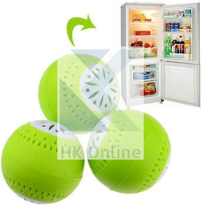 Pack 3 FRIDGE FRESHENER -Deodoriser Balls, Removes Odour Food FRESHER FOR LONGER