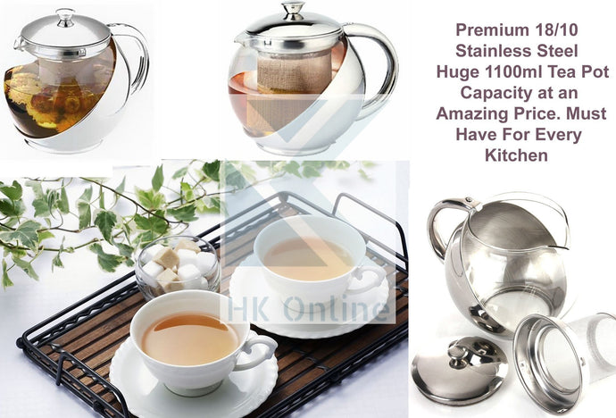 Stainless STEEL & GLASS TEAPOT -1100ml Loose Leaf Tea Infuser