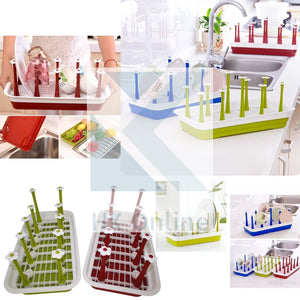 GLASS & MUG Holder, DISH Drainer & Rack with Drip Tray -Vegetable Drainer