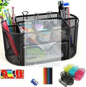 Black MESH DESK ORGANISER -Office Desk Tidy, Pencil Pot with Drawer, Desk Stationery