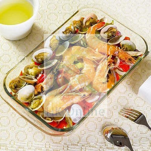 2 Litre Rectangle Glass BAKING DISH -Pasta, Fish, Lasagne, Ribbed Roasting Dish 34 x 20 x 5.5cm