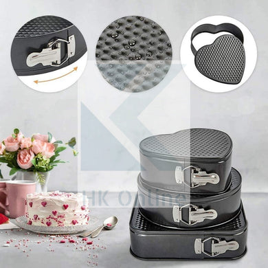 3 Ultra Non Stick SPRING FORM CAKE TINS -Heart, Round & Square Baking Tins