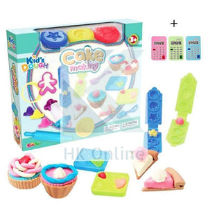25 PC CAKE MAKING PLASTICINE PLAYSET -Cutting Tools, Templates, Rolling Pin, Creative Playing Dough & 1 Calculator Eraser