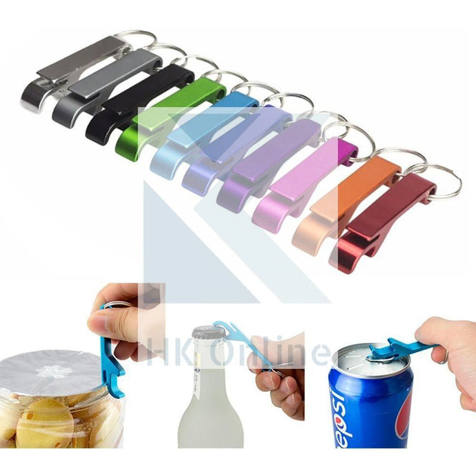 2 x Keyring BOTTLE OPENER -Can Ring Pull Opener, Foil Cutter