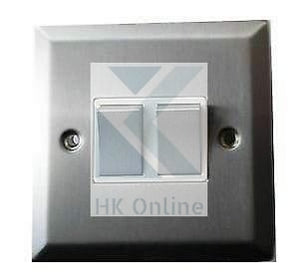 Decor Satin Chrome 2GANG 2WAY DOUBLE LIGHT SWITCH -6A White Inserts Metal Rocker