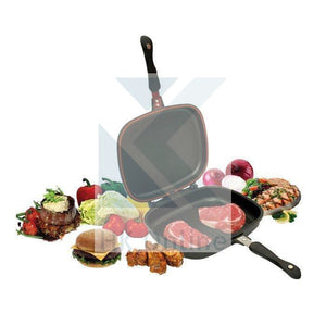 Die-Cast Double Sided GRILL PAN -Frying Pan, Magic Foldable Flip Griddle Pan