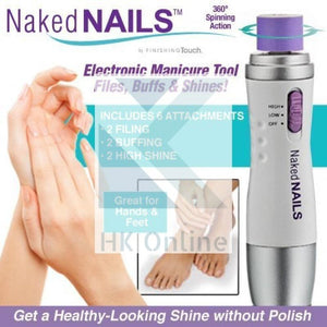 Naked Nails Electronic MANICURE TOOL -6 Exchangeable Rollers, File, Buff & Shine