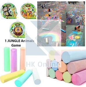 12 Pcs Jumbo PAVEMENT CHALKS & 1 JUNGLE PINBALL Puzzle Game -Hopscotch Chalk, Giant Street Chalk, Fun Wall Art Bundle