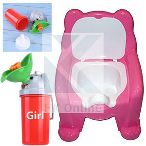 Easy Clean Toddler POTTY TRAINING CHAIR Seat & Travel Urinal, Removable Potty Lid(PINK)