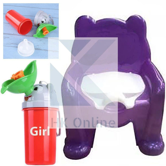 Easy Clean Toddler POTTY TRAINING CHAIR Seat & Travel Urinal, Removable Potty Lid (PURPLE)