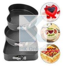 Load image into Gallery viewer, 3 Ultra Non Stick SPRING FORM CAKE TINS -Heart, Round & Square Baking Tins