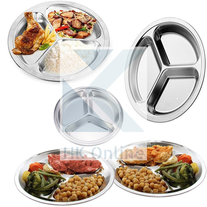 Tri Section PORTION CONTROL DIVIDER PLATE -Stainless Steel, Thali, Picnic, Camping, BBQ 26cm