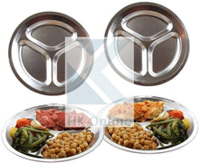 Load image into Gallery viewer, Tri Section PORTION CONTROL DIVIDER PLATE -Stainless Steel, Thali, Picnic, Camping, BBQ 26cm